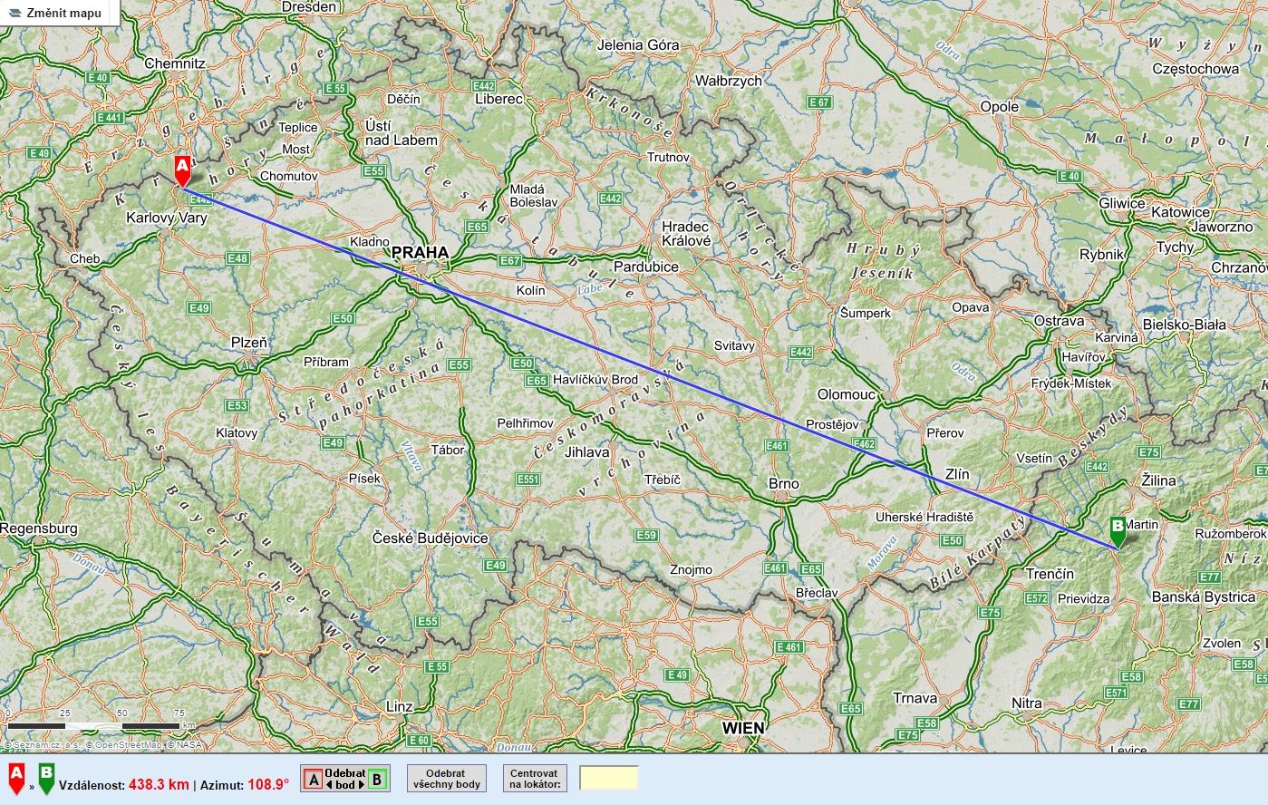 PMR DX 438km na mapě na www.cbpmr.cz
