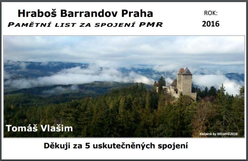 Pamětní lístek Hraboše Barrandov 2016